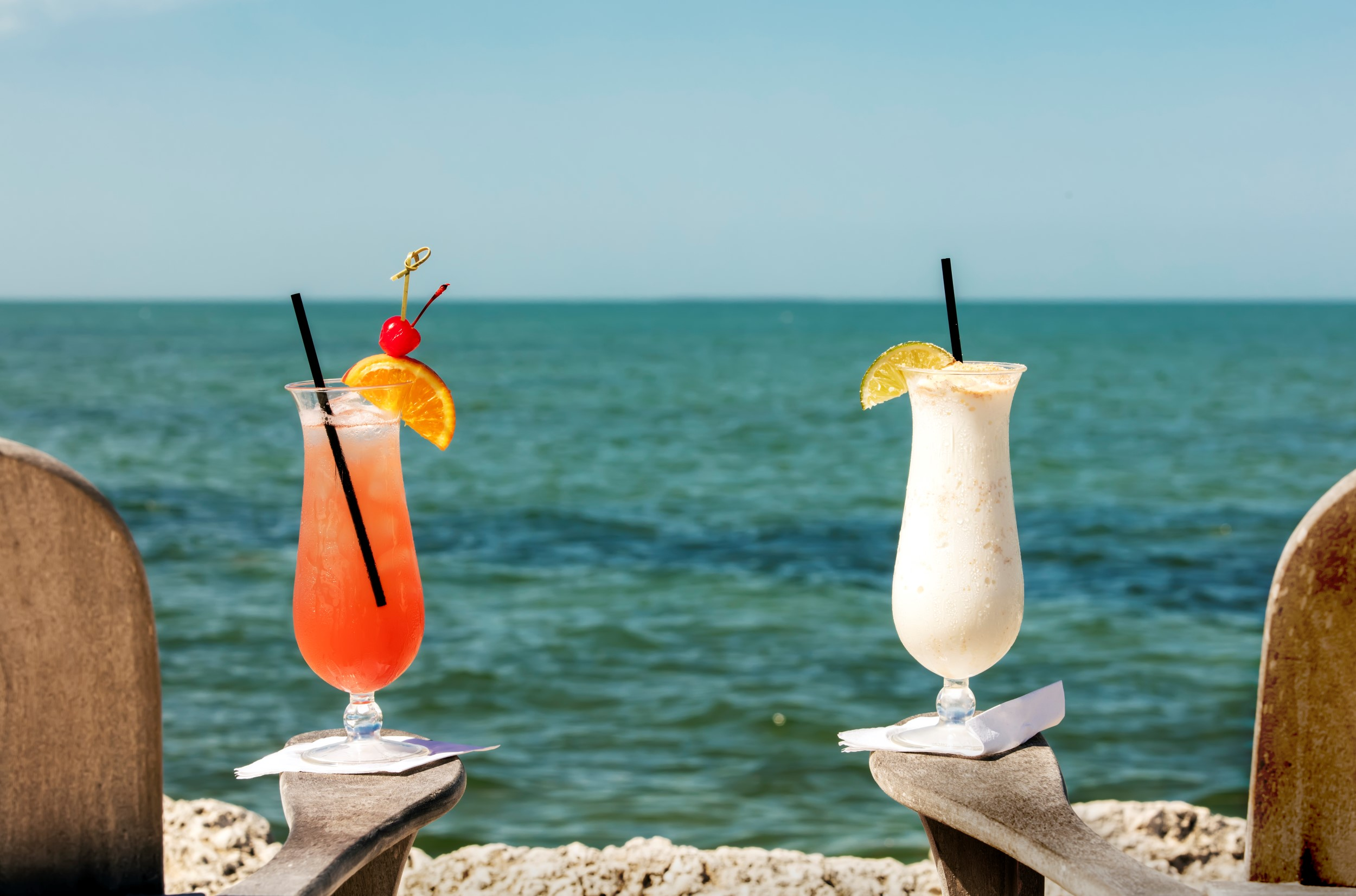 Cocktails on a sunny Florida Keys beach