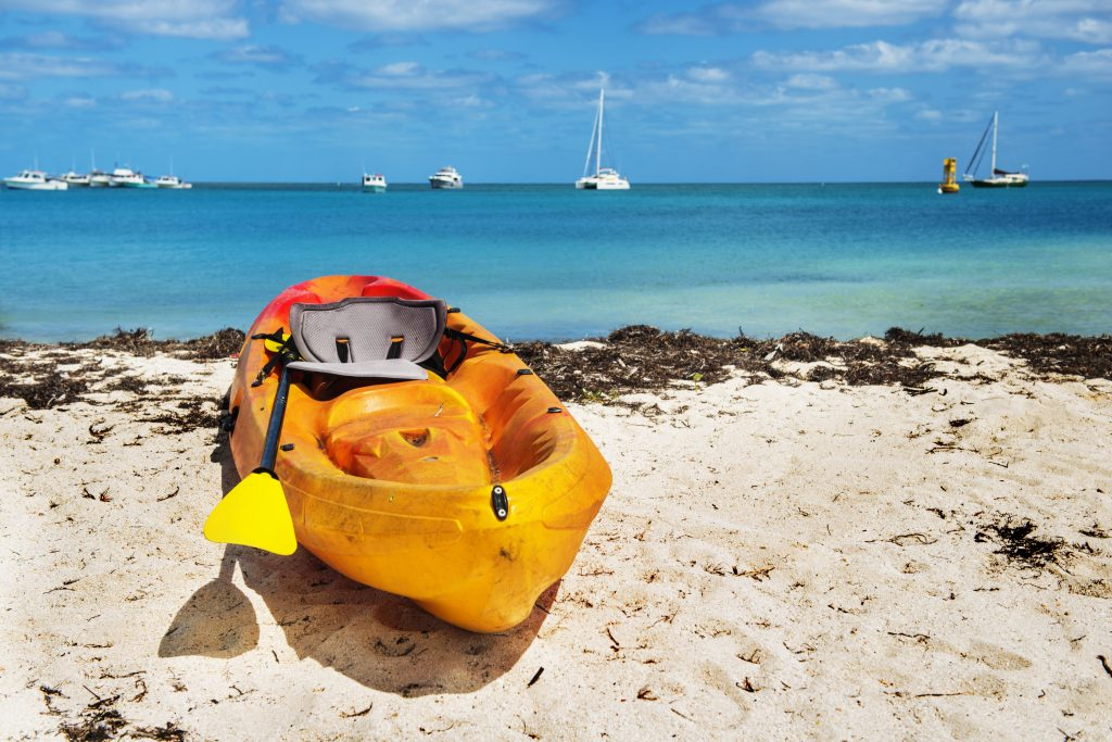 Kayak and seagrass in the Florida Keys