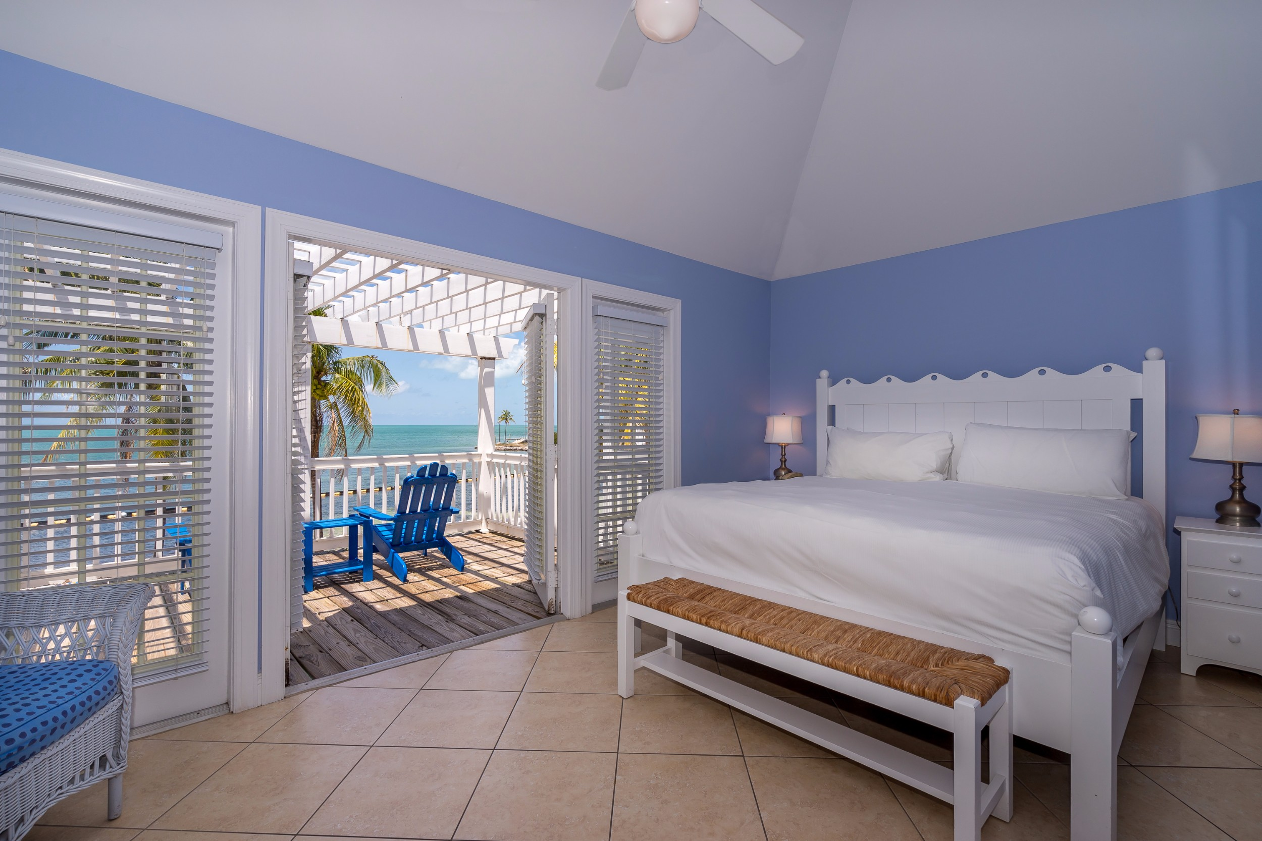 Beach front beach house bedroom in the Florida Keys