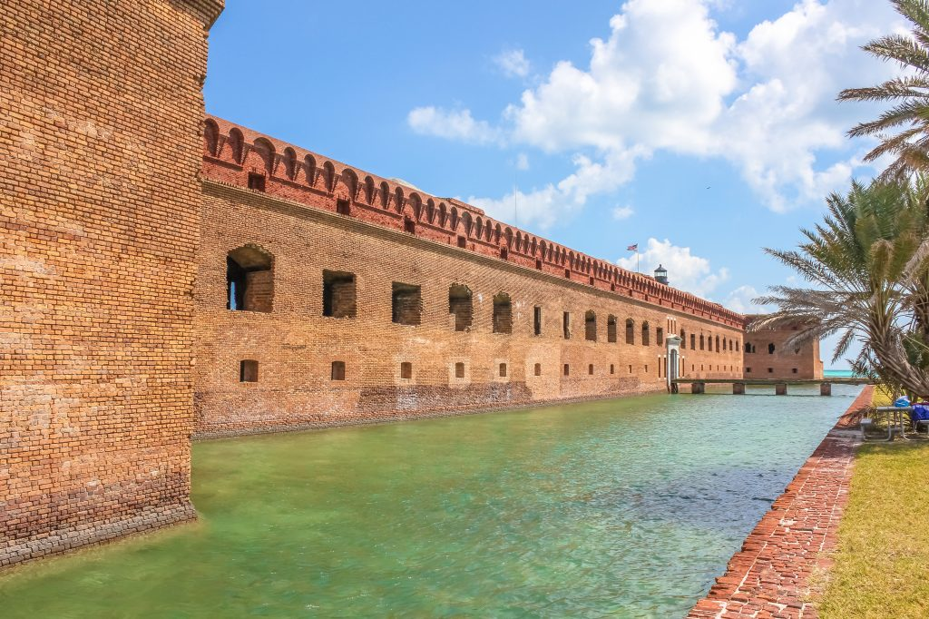Fort Jefferson and its moat of sea water at Dry Tortugas National Park, Florida Keys