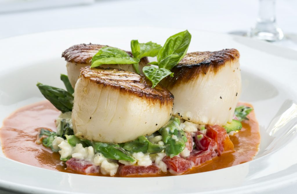 Scallops served at the award-winning Butterfly Cafe at Tranquility Bay