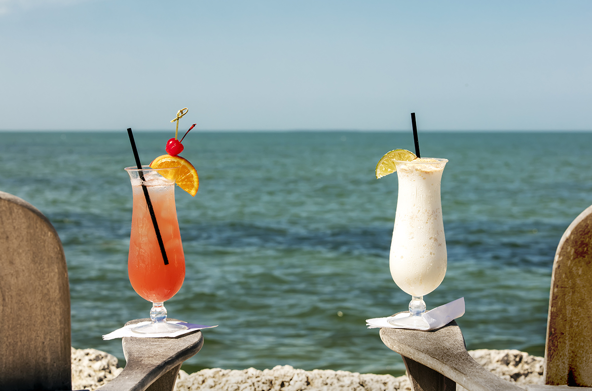 Cocktails on the beach in Marathon, Florida Keys