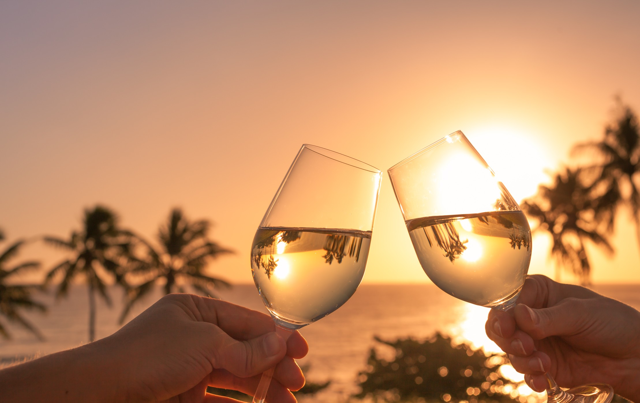 Glasses clinking with a view of the sun setting over the sea in the Florida Keys