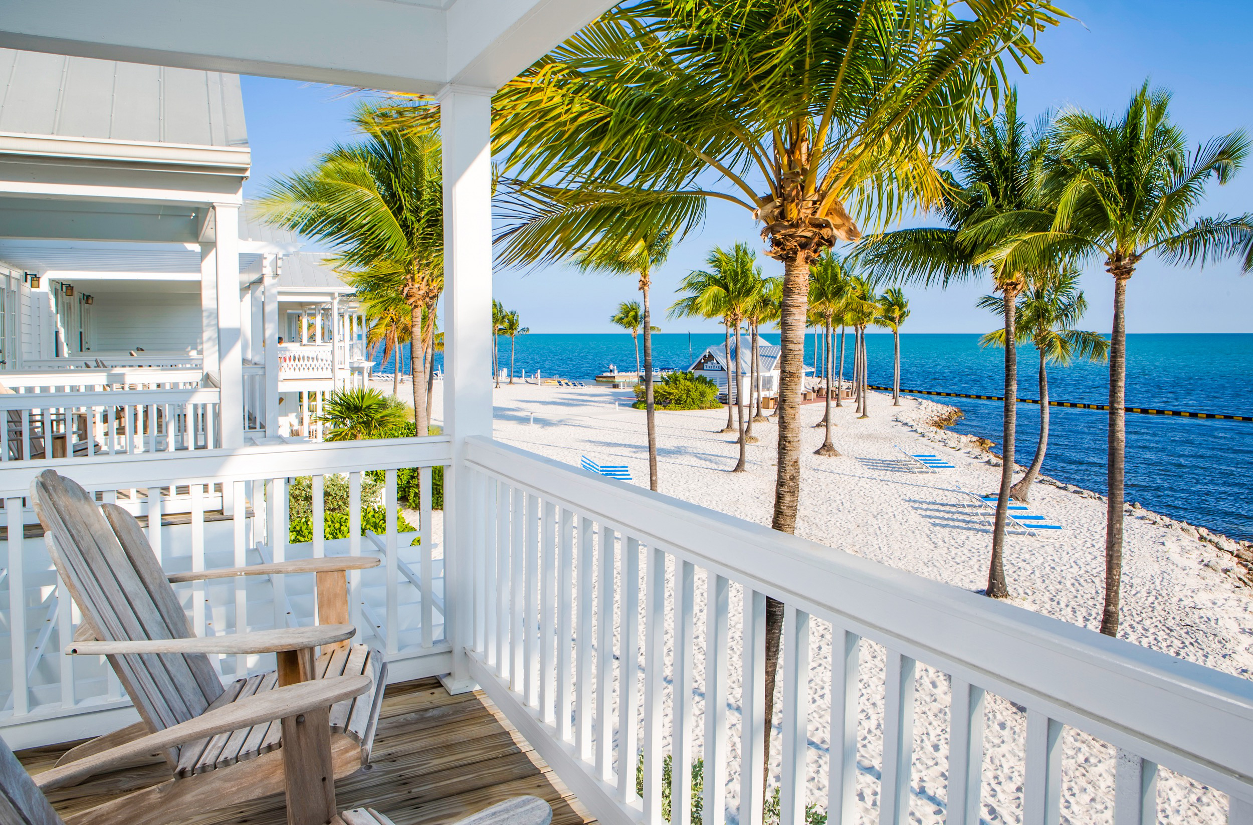 Private balcony overlooking white sand beach in the Florida Keys