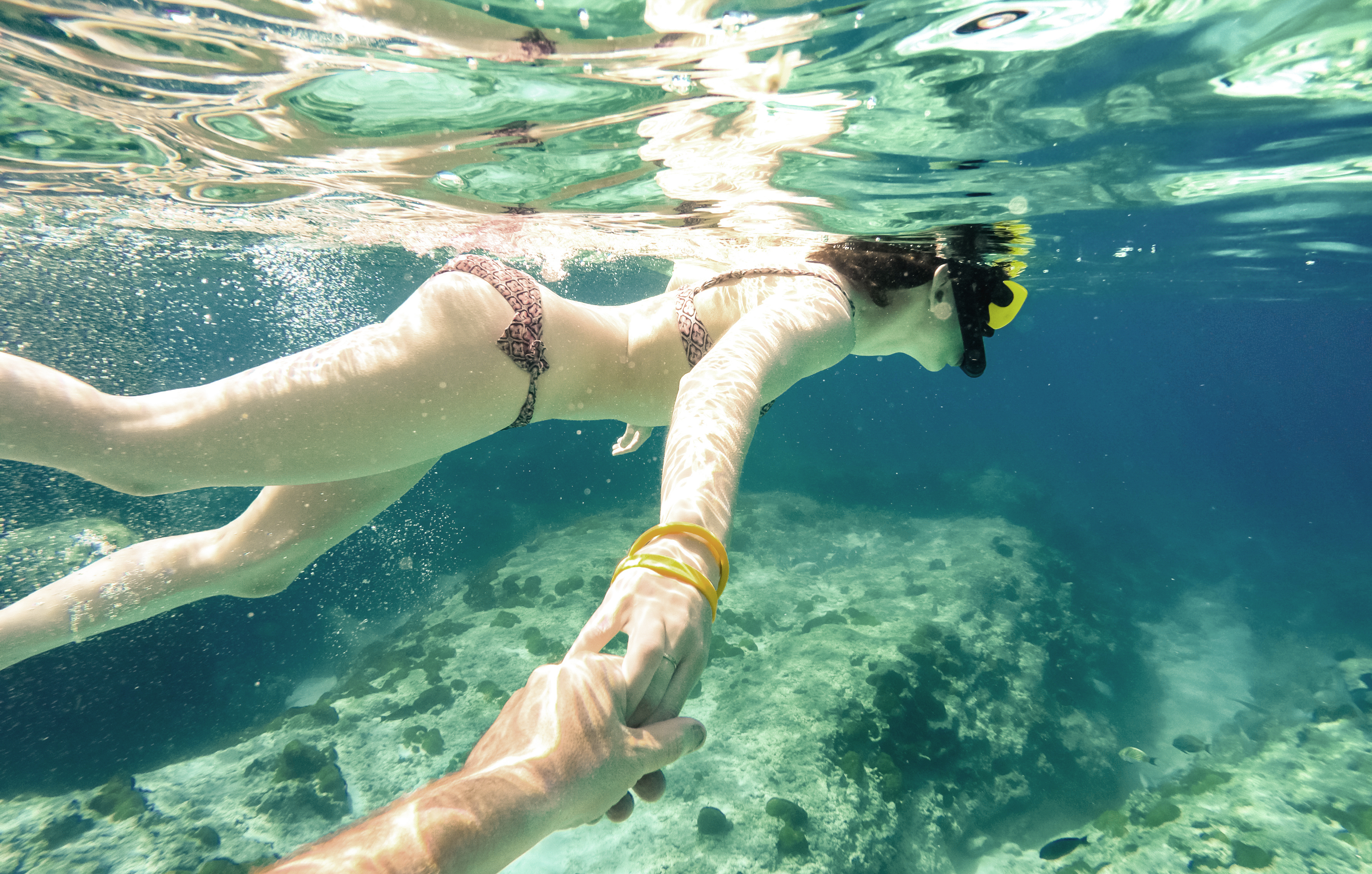Couple snorkeling in the Florida Keys