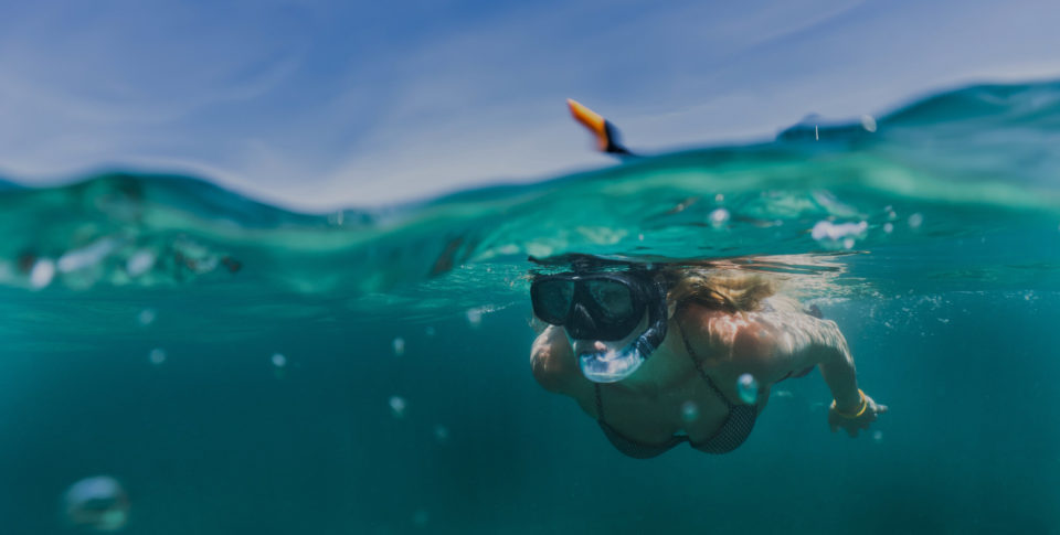 Lady snorkeling in the Florida Keys