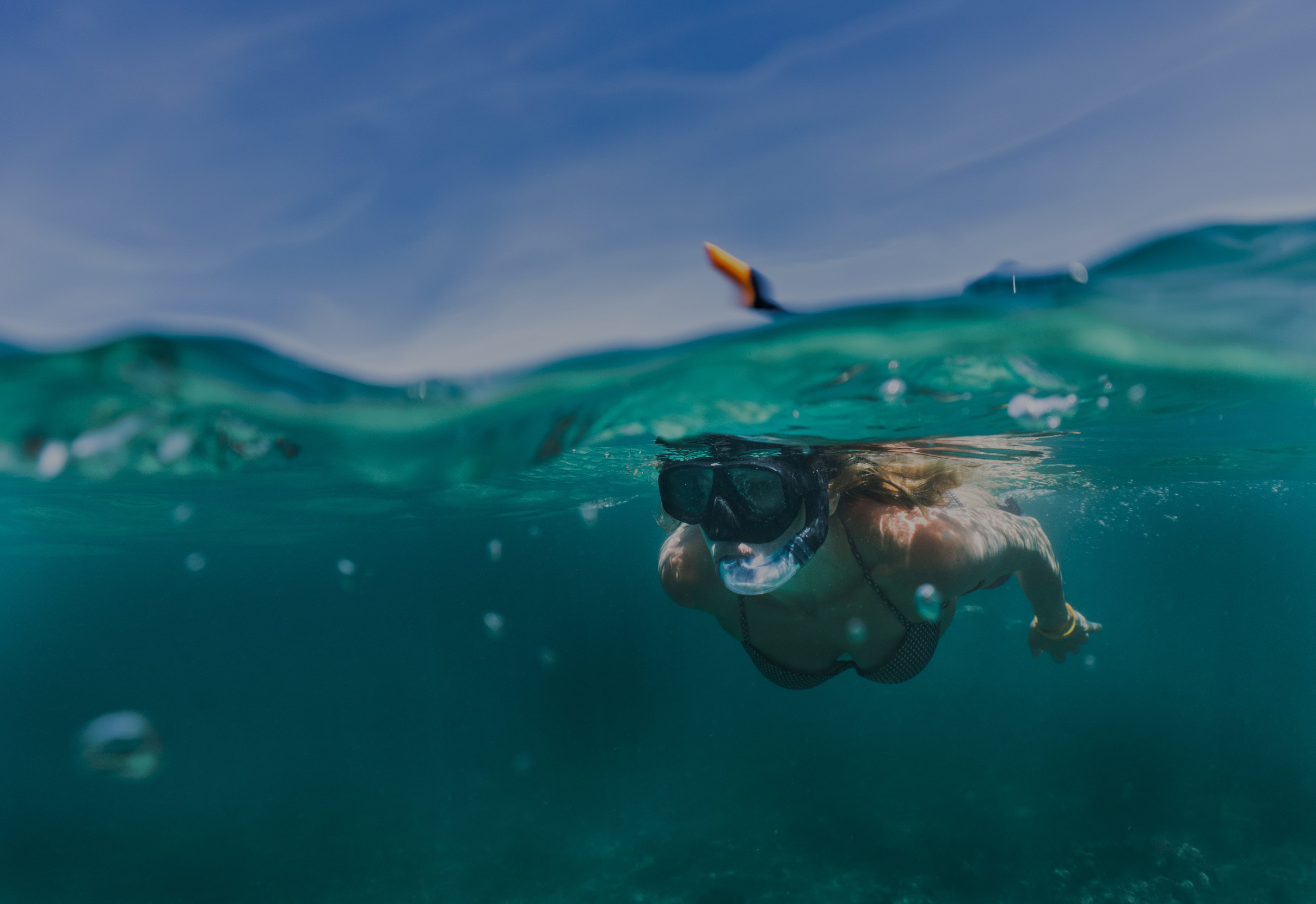 Lady snorkleing in the Florida Keys