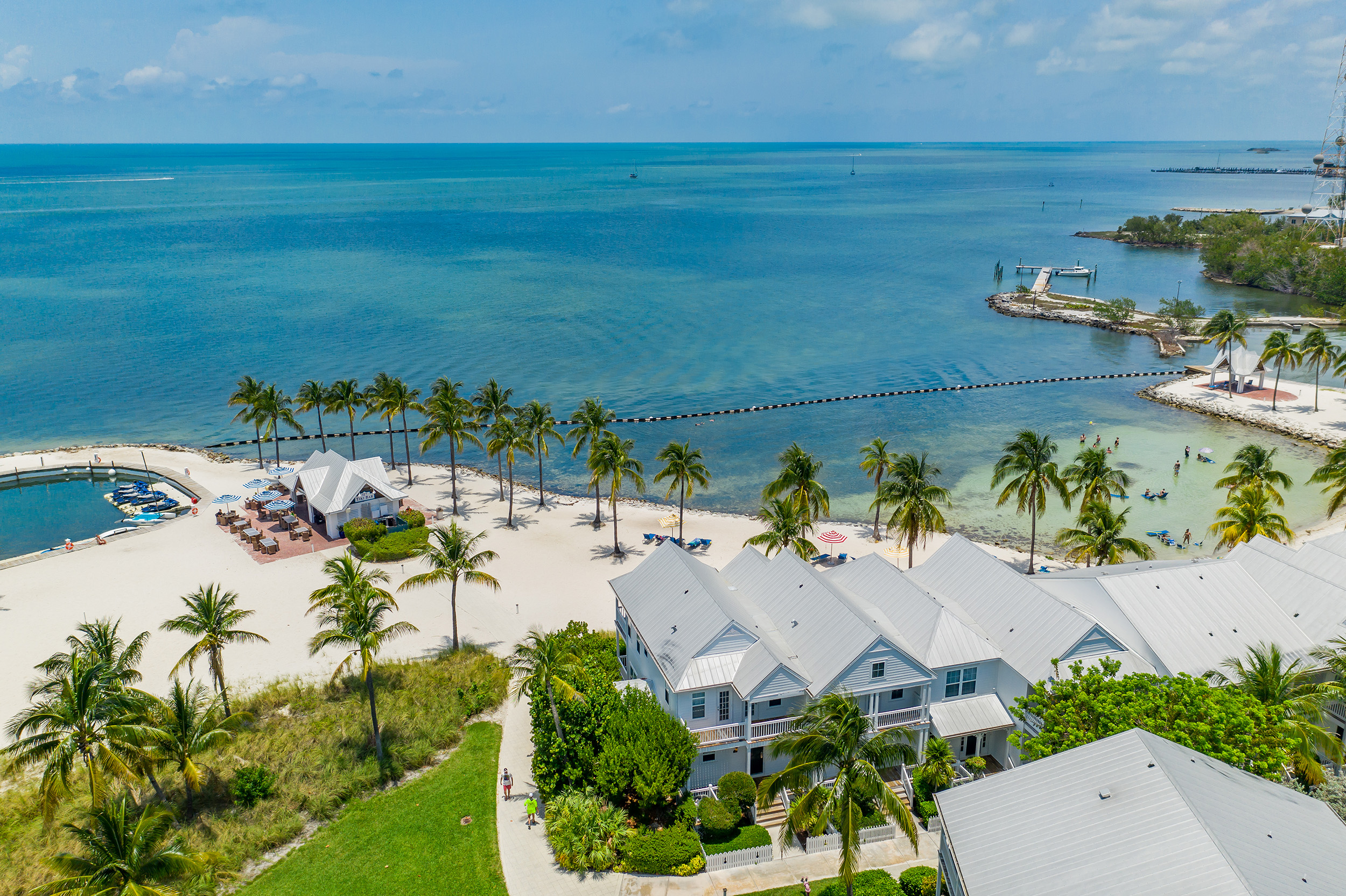 Aerial view of beach houses at Tranquility Bay Resort in the Florida Keys